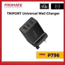Promate TRIPORT 30W Universal Wall Charger with Qualcomm Quick Charge 3.0