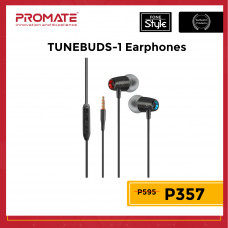 Promate TuneBuds-1 Dynamic In-Ear Stereo Earphones with In-Line Microphone